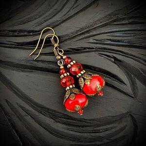 Boho red crystal coral beaded dangle drop earrings